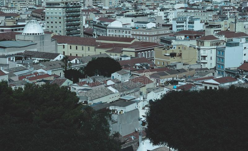 Aerial view of Cagliari. Aerial view of the city of Cagliari, Italy stock photos