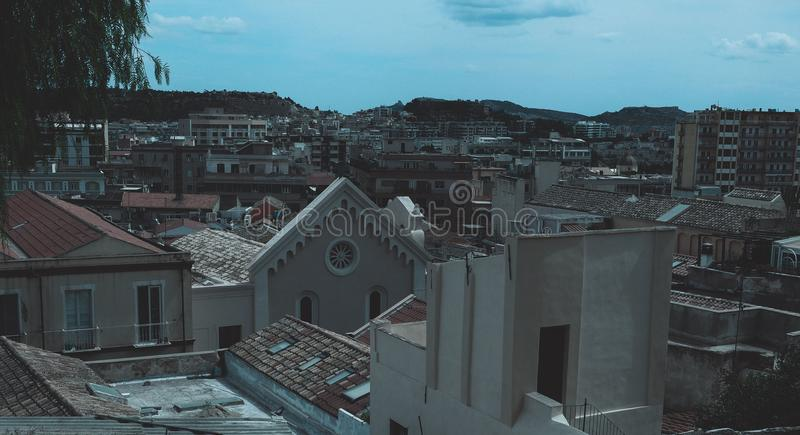 Aerial view of Cagliari. Aerial view of the city of Cagliari, Italy royalty free stock photos