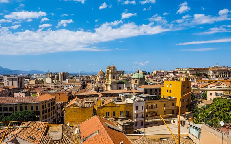 Aerial view of Cagliari (hdr) (hdr). Aerial view of the city of Cagliari, Italy (vibrant high dynamic range) (vibrant high dynamic range royalty free stock photography