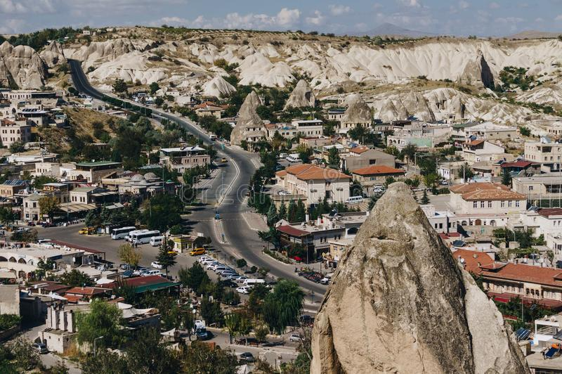 Aerial view of city. In Cappadocia, Turkey stock photography