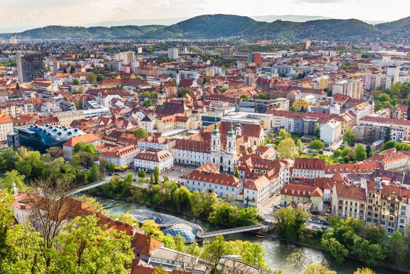 Aerial View Of City Center - Graz, Styria, Austria stock images