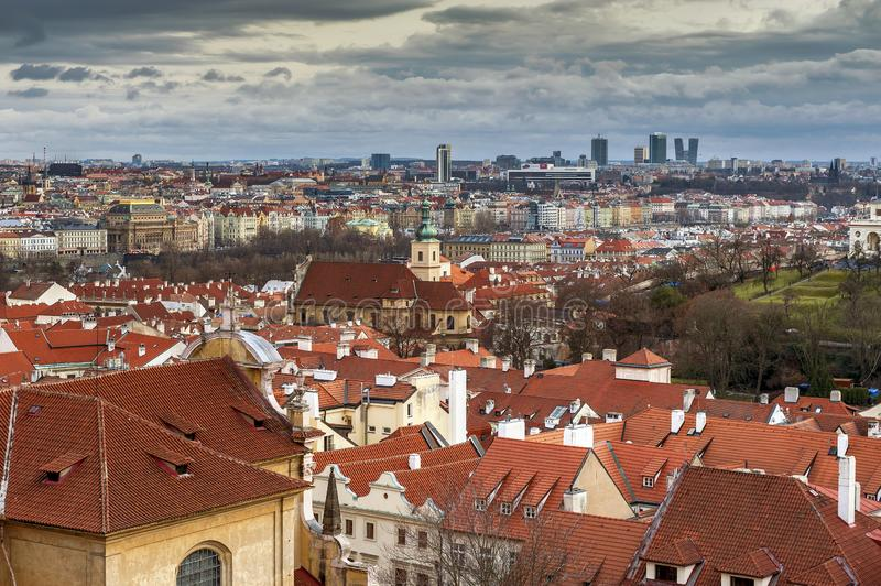 Aerial view on the city center of Prague, Czech Republic royalty free stock image