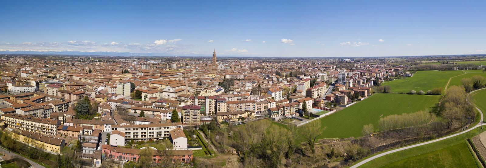 Aerial view of the city of Cremona, Lombardy, Italy. Cathedral and Torrazzo of Cremona stock photography
