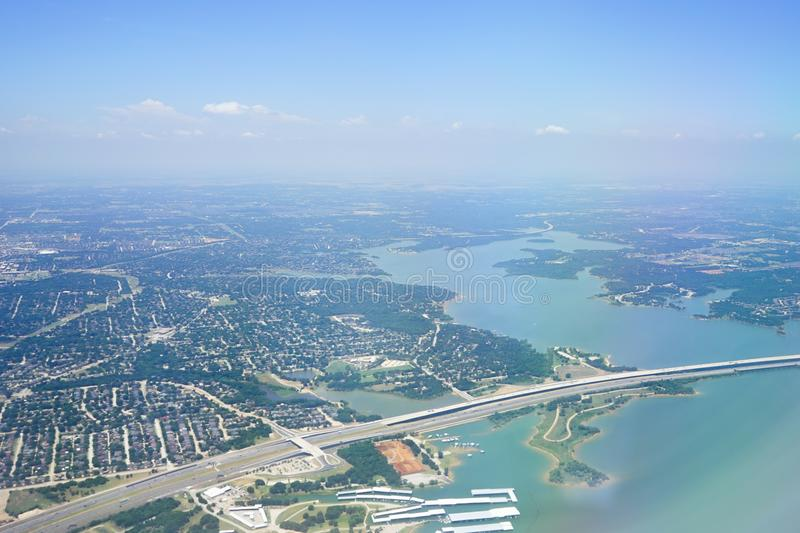 Aerial view of City of Dallas. Texas stock photography
