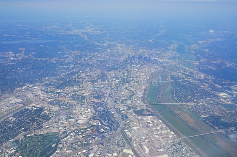 Aerial view of City of Dallas. Texas stock photo