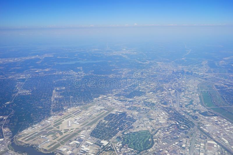 Aerial view of City of Dallas. Texas stock image
