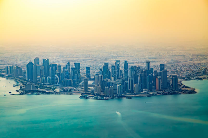 Aerial view of city Doha stock photos