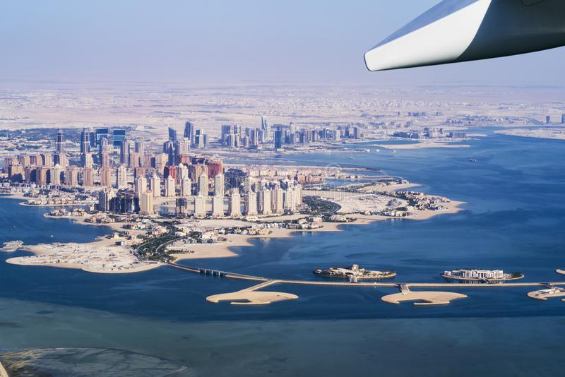 Aerial view of city Doha, capital of Qatar. Airplanes from Qatar Airways .city Doha stock photography