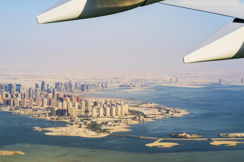 Aerial view of city Doha, capital of Qatar stock images