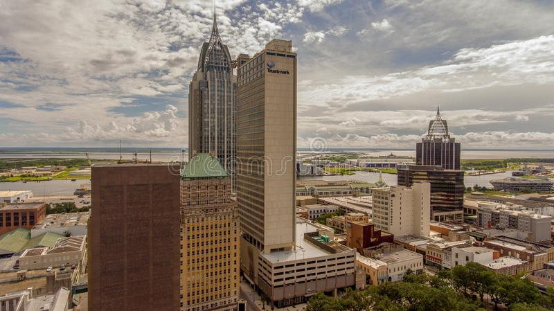 Aerial view of downtown Mobile, Alabama. Aerial view of the city of downtown Mobile, Alabama along the Mobile River in July stock photos