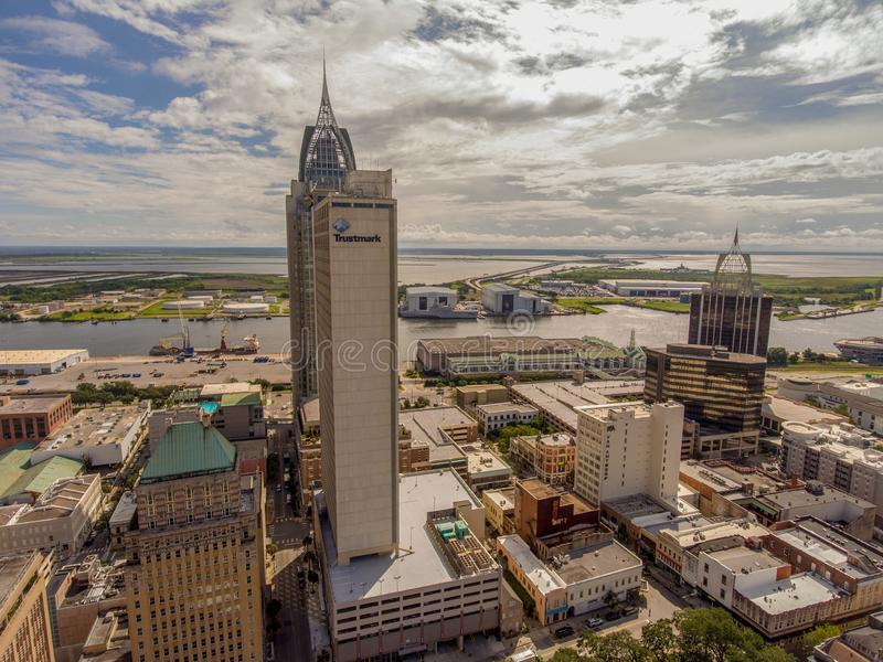 Aerial view of downtown Mobile, Alabama. Aerial view of the city of downtown Mobile, Alabama along the Mobile River in July royalty free stock photo