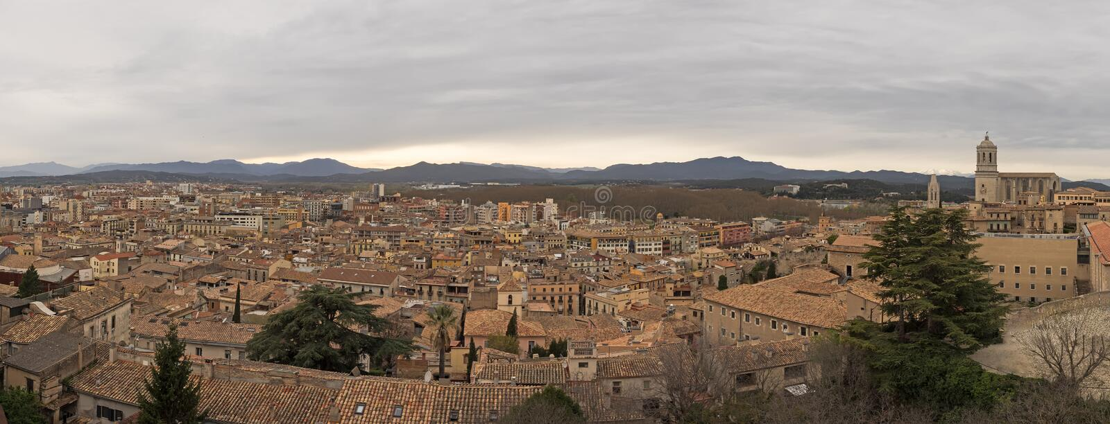 Aerial view of the city Girona, Spain, in panoramic format royalty free stock photography