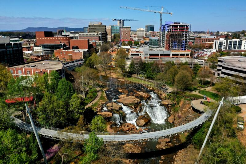 City of Greenville. Aerial view of city of Greenville with Reedy Falls Bridge in the centre, South Carolina, USA stock photo