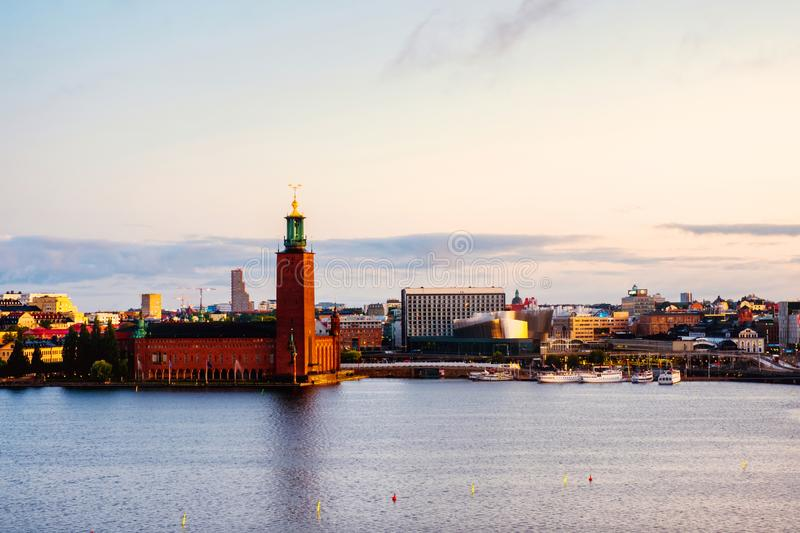 Aerial view of City Hall in Stockholm, Sweden in the morning stock image
