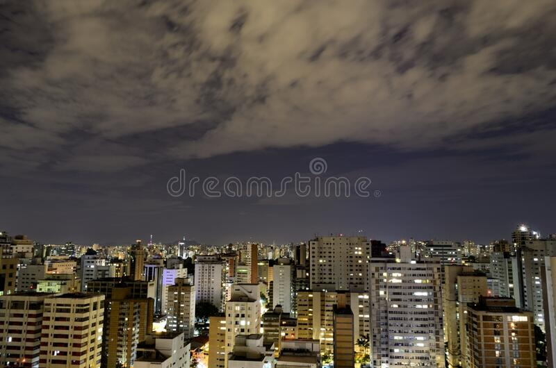 Aerial View of City With High Rise Building at Night Time royalty free stock images