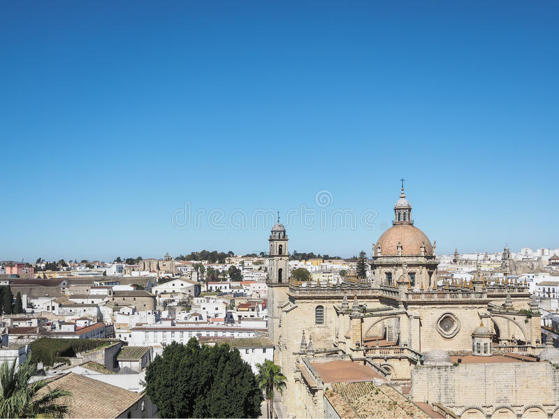 Aerial view of the city Jerez de la Frontera. Andalusia, Spain, with the cathedral San Salvador stock photo
