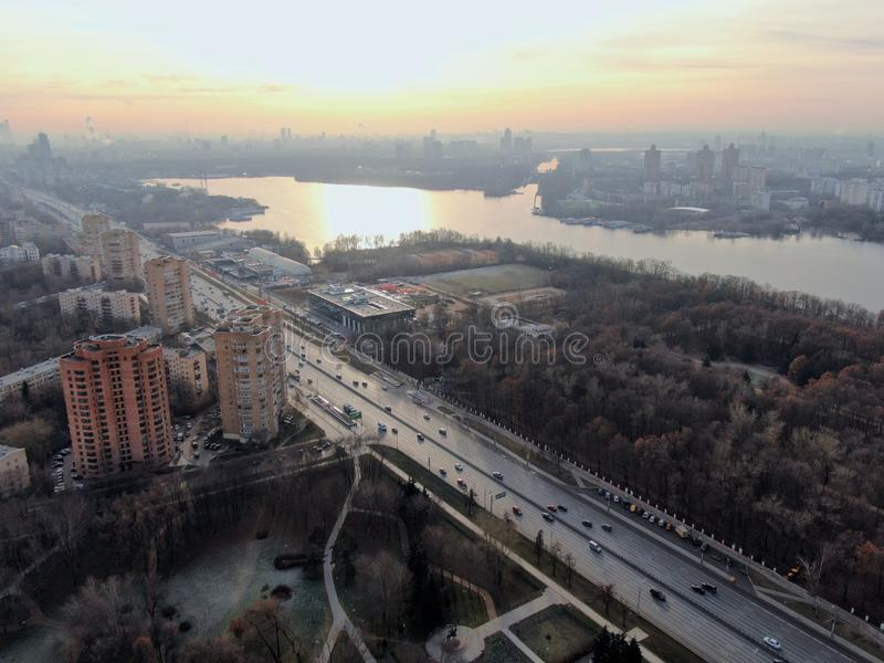 Aerial view city landscape Leningrad Prospect in Moscow on a sunny day royalty free stock image