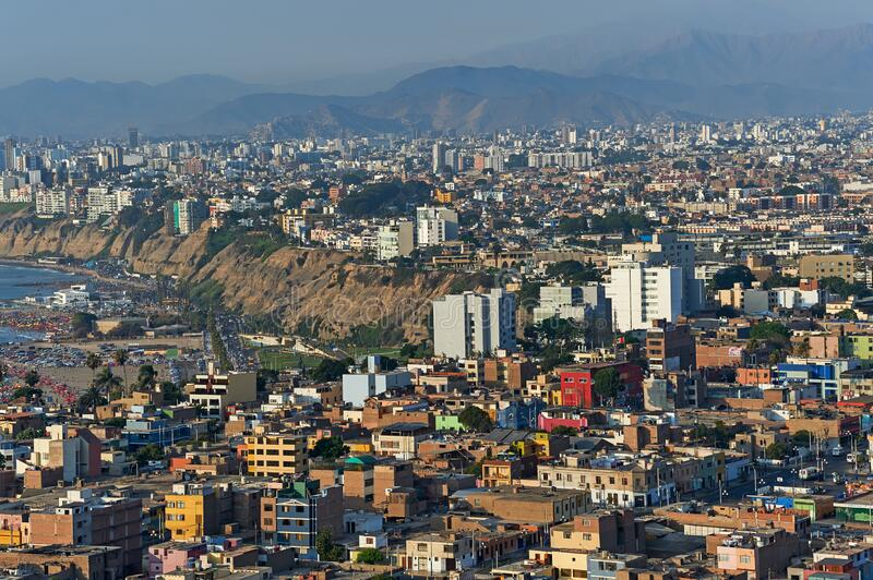Lima, Peru. Aerial view of the city of Lima, Peru stock photo
