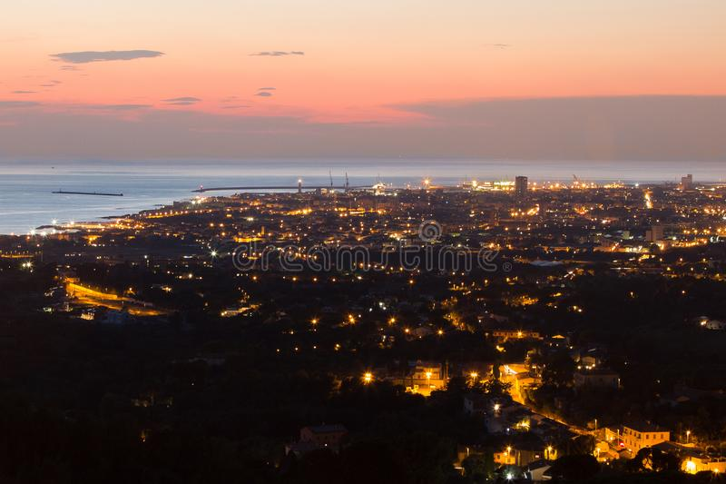 Aerial View of the city of Livorno in Tuscany at Dusk.  royalty free stock photography