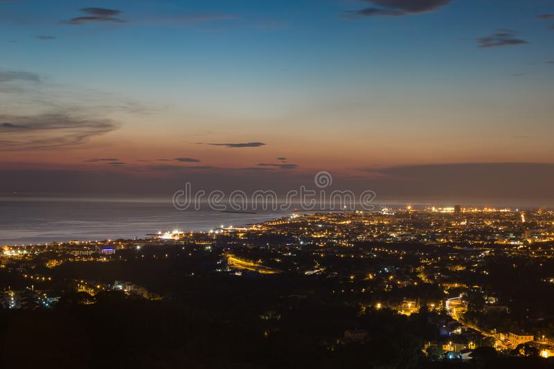 Aerial View of the city of Livorno in Tuscany at Dusk.  royalty free stock image