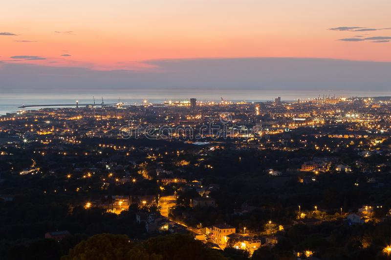 Aerial View of the city of Livorno in Tuscany at Dusk.  stock images