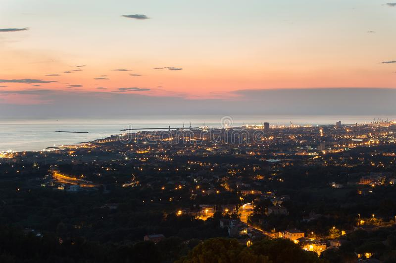 Aerial View of the city of Livorno in Tuscany at Dusk.  royalty free stock images