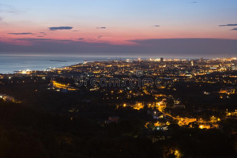 Aerial View of the city of Livorno in Tuscany at Dusk.  stock image