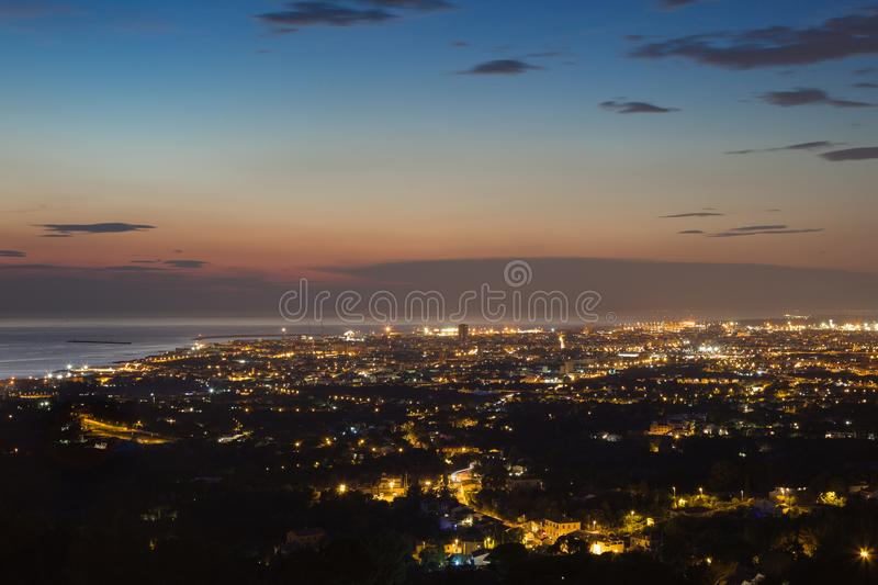 Aerial View of the city of Livorno in Tuscany at Dusk.  stock photo