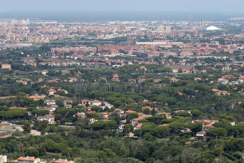Aerial View of the city of Livorno in Tuscany, Italy.  royalty free stock image