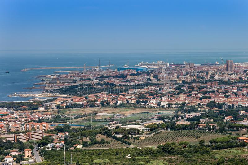 Aerial View of the city of Livorno in Tuscany, Italy.  stock photography