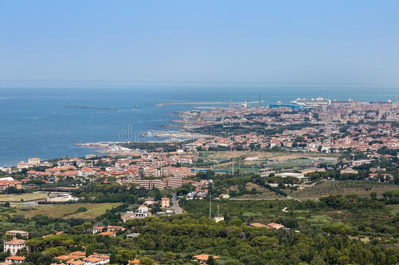 Aerial View of the city of Livorno in Tuscany, Italy.  stock images