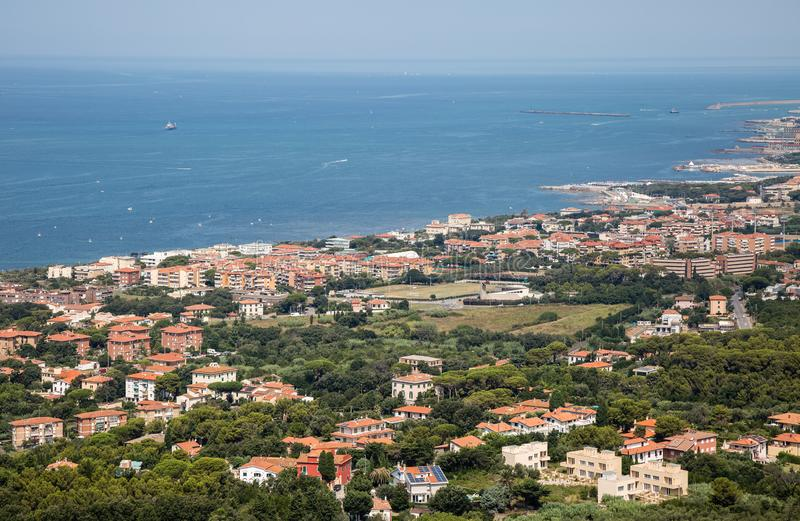 Aerial View of the city of Livorno in Tuscany, Italy.  stock photo