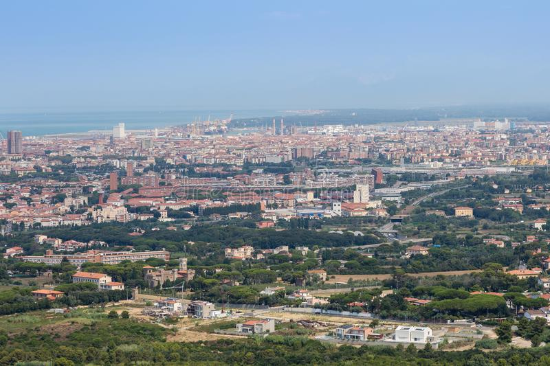 Aerial View of the city of Livorno in Tuscany, Italy.  royalty free stock photos