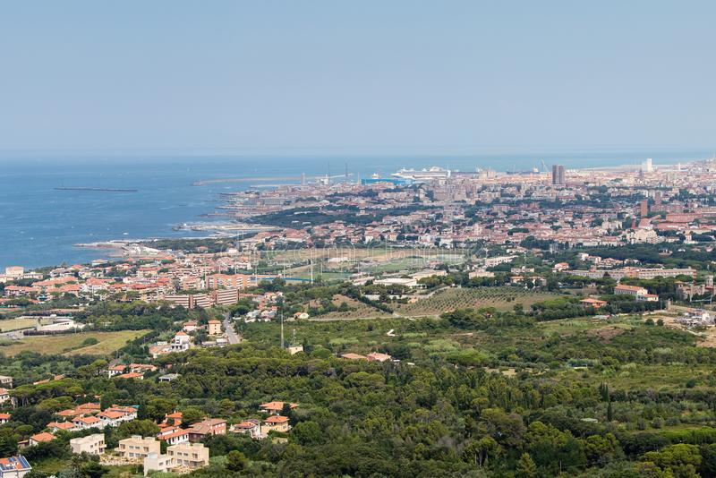 Aerial View of the city of Livorno in Tuscany, Italy.  stock photos