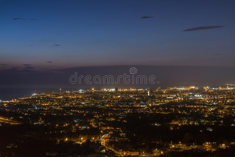 Aerial View of the City of Livorno in Tuscany in Summer Night.  royalty free stock photo