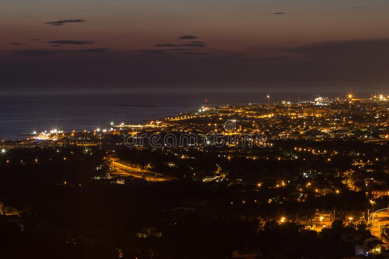 Aerial View of the City of Livorno in Tuscany in Summer Night.  stock image