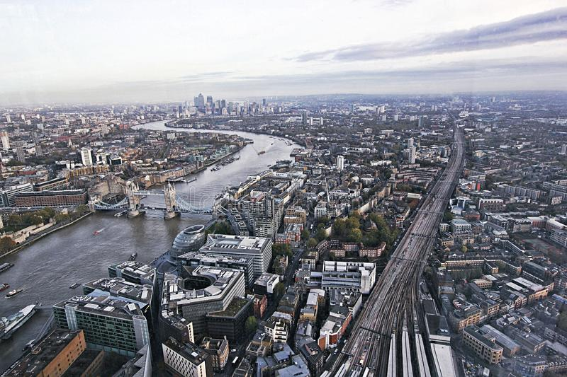 Aerial view of the city of London, towards Tower Bridge stock images