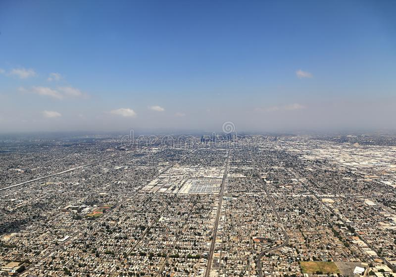 Los Angeles, USA. Aerial view of the city of Los Angeles royalty free stock photos