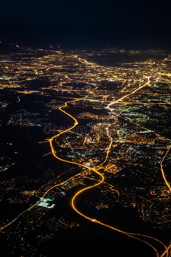 Aerial view of a city of Moscow at night. City of Moscow picture made from airplane. Aerial view of a city of Moscow at night. City of Moscow picture made from royalty free stock photos