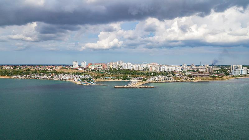 Aerial view of the city near the Black Sea.  stock images