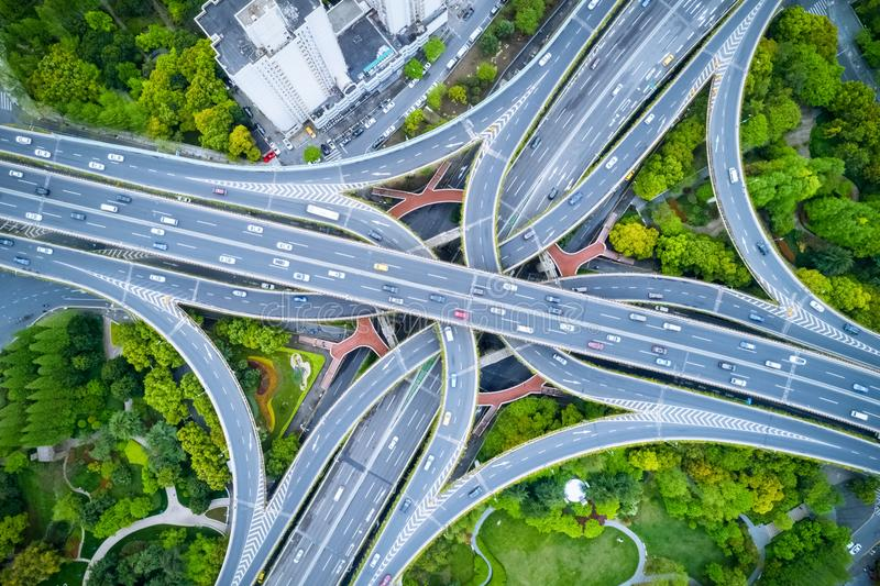 Aerial view of city overpass stock photos