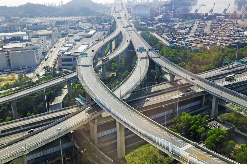 Aerial view of the city overpass. In early morning, HongKong,Asia China stock photos