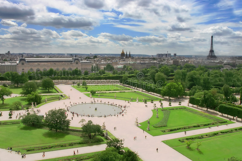 Aerial view on city park and Eiffel Tower in Paris stock photo