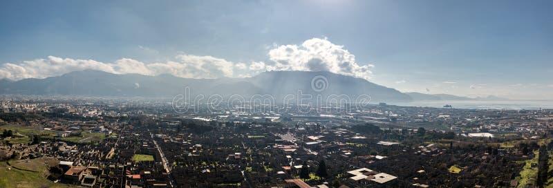 Aerial view of Pompeii, Italy stock photo