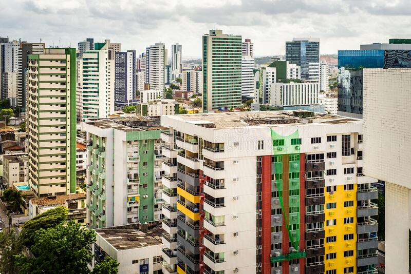 Aerial view of the city of Recife, Brazil. With colorful buildings royalty free stock images