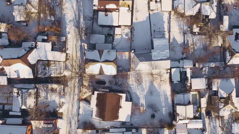 Aerial view on city rooftops patio with snow. Aerial top view from drone on city rooftops patio with snow. Dnipro, Dnepr, Dnepropetrovsk, Dnipropetrovsk stock photography