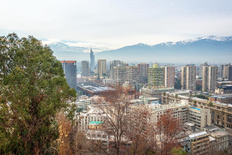 Aerial view of the city of Santiago Chile stock photo