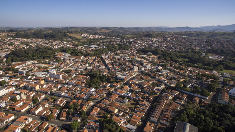 Aerial view of the city of Sao Joao da Boa Vista in Sao Paulo st. Ate in Brazil royalty free stock photo