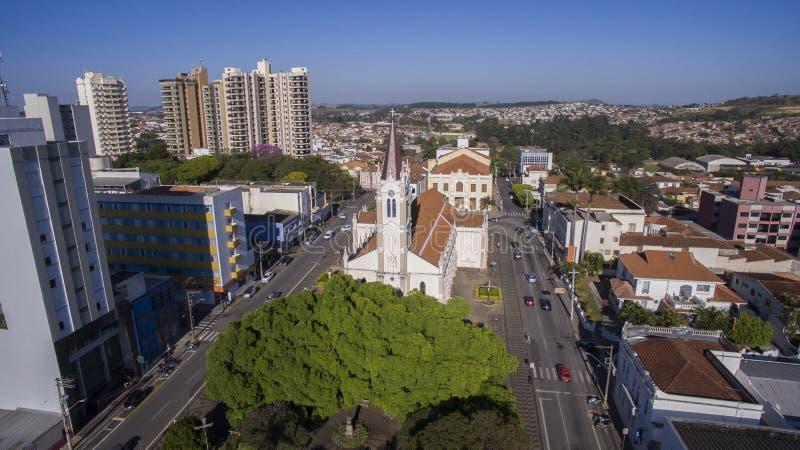 Aerial view of the city of Sao Joao da Boa Vista in Sao Paulo st royalty free stock image