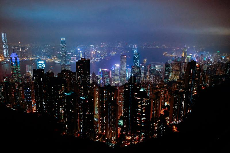 Aerial view of city skyline at night royalty free stock photo
